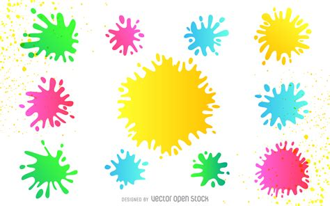 colorful paint splatter set vector