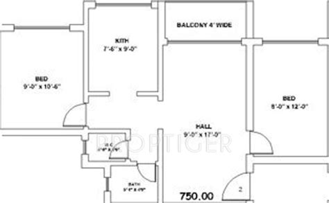 750 sq ft apartment floor plan 750 sq ft 2 bhk 1t apartment for sale in sunraj