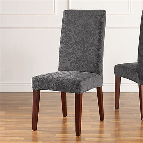 gray chair slipcover buy sure fit 174 stretch jacquard damask short dining chair