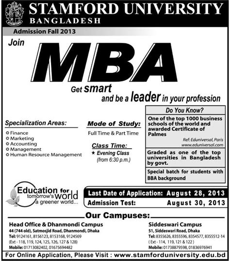 Mba Admission Statistics by Mba Admission Fall 2013 Stamford Bangladesh