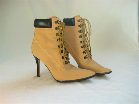 high heel tim boots vtg 7 5 timberland manolo style hiking boot heels