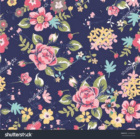 Dress Navy Blue Bunga Navy seamless summer floral pattern on navy background stock