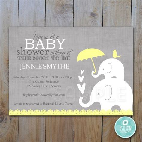 Editable Baby Shower Invitation Yellow And Grey Elephant Gender Neutral Instant Download Yellow And Gray Baby Shower Invitation Templates