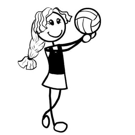 coloring pages netball netball drawing clipart best