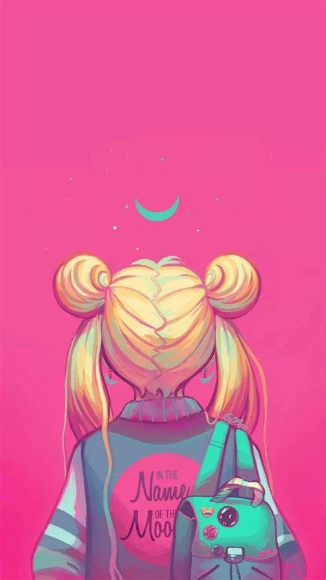 sailor moon painting neon pink      moon