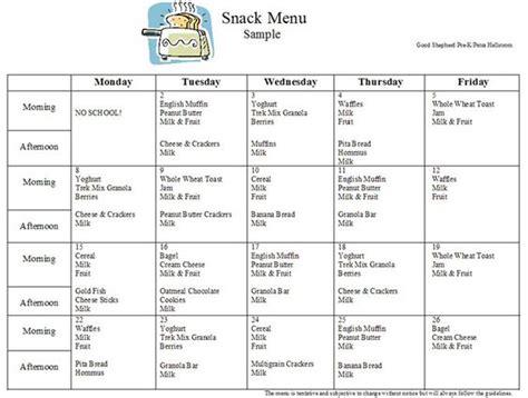 sle layout of menu sle menu for the afterschool snack program preschool