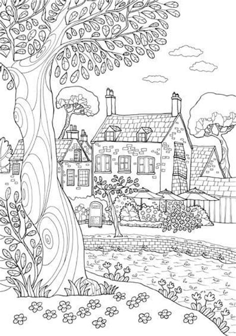 pueblo house coloring page dibujos de paisajes para colorear e imprimir j