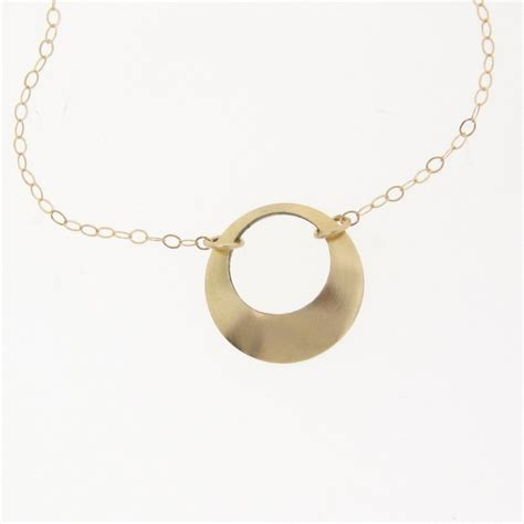 14k solid gold open circle necklace from
