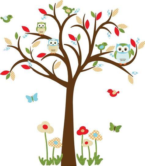 owl decal nursery decal childrens wall decal owl tree