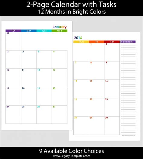 2015 12 month 2 page calendar half size legacy templates