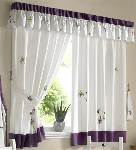 purple white pencil pleat kitchen curtains with free tie