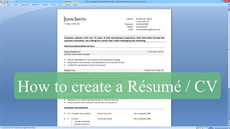how to write a resume cv with microsoft word youtube
