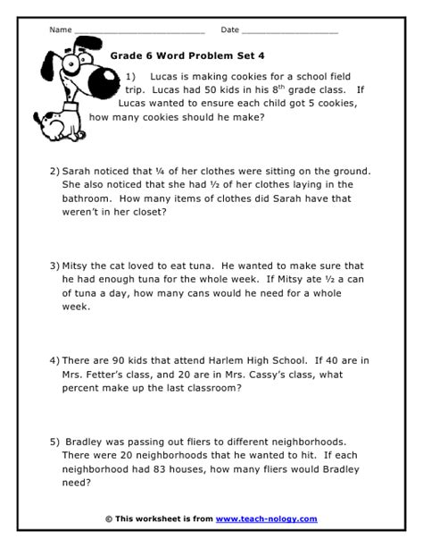 Grade 6 Math Worksheets Algebra by 6 Grade Math Word Problems Worksheets