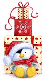 just awww christmas penguin with gifts penguins