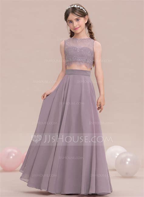 Bridesmaid Dresses - a line princess scoop neck floor length chiffon junior