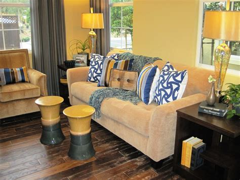 Yellow Walls Blue Curtains Decorating Impressive Ceramic Garden Stool In Living Room Contemporary With Grey And Yellow Next To Yellow