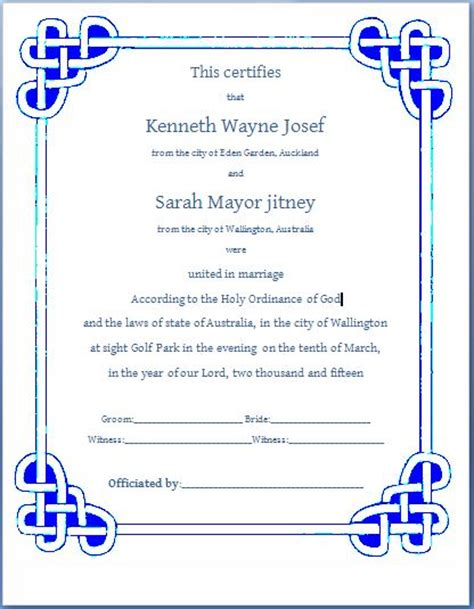marriage certificate template microsoft word ms word formal marriage certificate template formal word