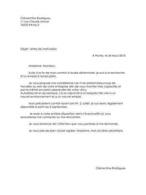 Lettre De Motivation Bénévolat Exemple Application Letter Sle Modele De Lettre De Motivation Pour Emploi Divers