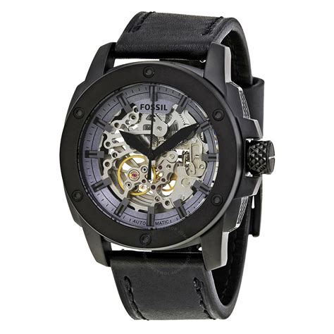 Me3133 Automatic affordable fossil modern machine automatic skeleton s black stainless steel