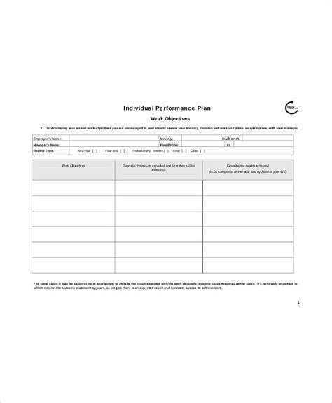 individual performance plan template 8 performance plan templates free sle exle