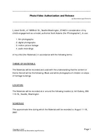 free photo/video consent agreement (canada) legal
