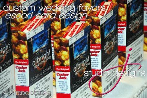 cracker jacks wedding favors baseball tickets meal cards favors for cracker