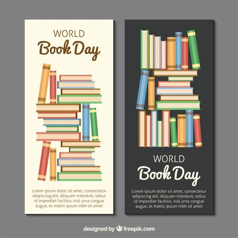 banner design book colored book banners in flat design vector free download