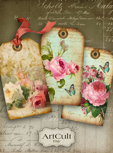 digital collage sheet shabby chic gift tags no1 printable