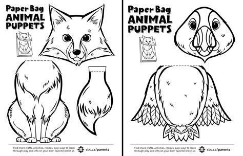 animal puppet templates canadian animal paper bag puppets play cbc parents