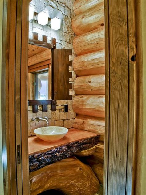 rustic cabin bathroom ideas log sink houzz