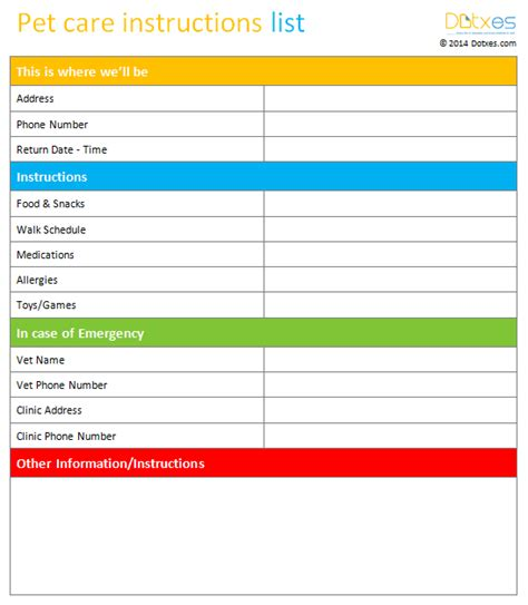 pet templates pet care list template dotxes
