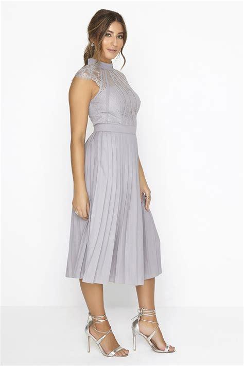 Grey Pleated 2pcs Dress grey pleated midi dress from uk