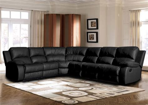 Large Leather Sectional Sofas Classic Large Sectional Sofa Black Faux Bonded Leather Recliner End Seat Ebay