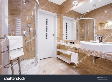 fancy bathroom tiles beige fancy bathroom shower sandstone tiles stock photo