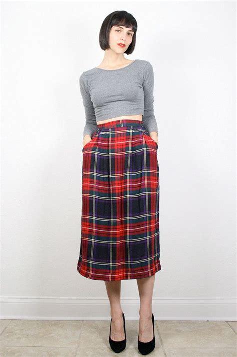 vintage plaid skirt navy green plaid midi skirt preppy