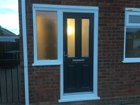 Exterior Side Door With Window New Grey Composite Front Door With Side Window Fitted In