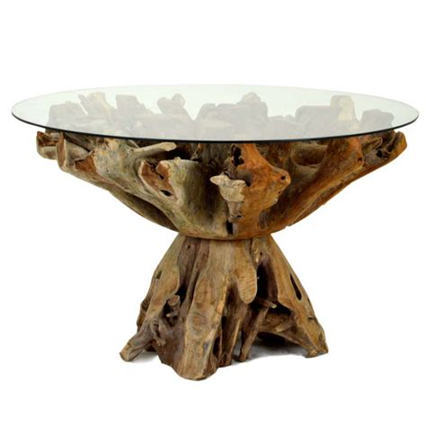 ris  teak root dining table   glass home