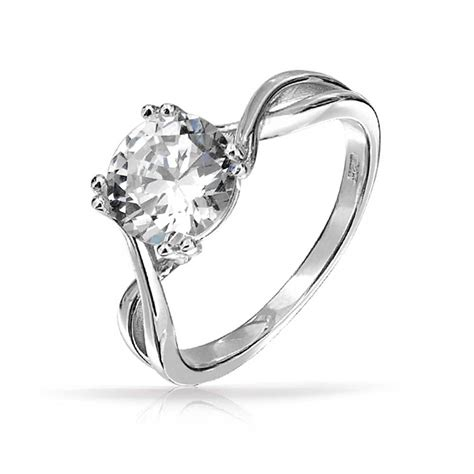 925 silver twist 2 carat cz solitaire engagement ring