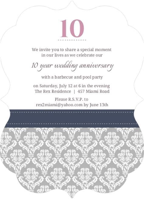 Damask Border 10th Anniversary Invitation   10th