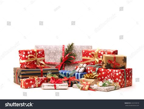 group christmas gifts isolated on white stock photo
