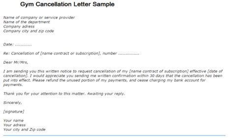 gym contract termination letter sample 1 - Contract Cancellation Letter Sample