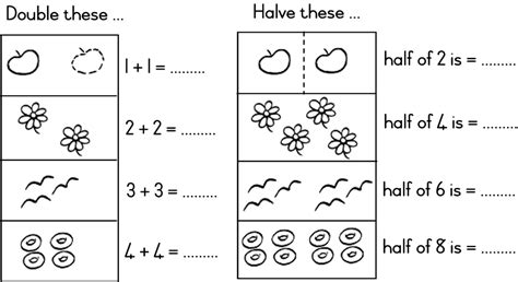 printable worksheets for halving numbers math worksheets doubles and halves learning clip iwb