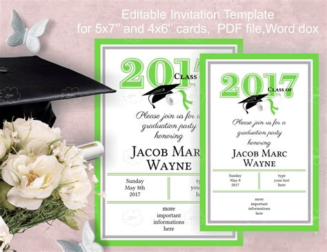 Graduation Party Invitation Template Download Edit Yourself Free Graduation Invitation Templates