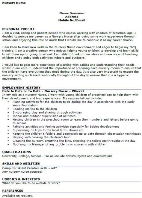 Cover Letter Exle Nursery Assistant Nursery Cv Exle Icover Org Uk