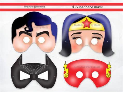 printable superman mask template superheroes mask instant dl wonder woman batman flash