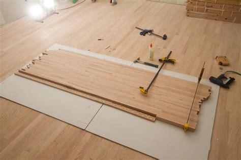 diy countertops wood flooring diy butcher block countertops made from leftover flooring