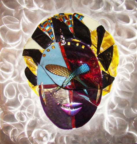glass mask 1980 s contemporary fused glass mask on aluminum plaque