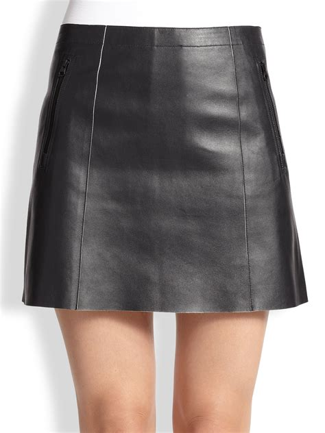 vince leather mini skirt in black black white lyst