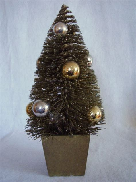 gold base bittle brush trees decorated gold bottle brush tree glitter decor wood pot base