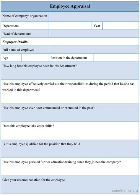 staff appraisals template sle employee appraisal form sle forms